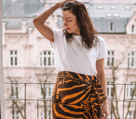 HM Studio Collection-animal print skirt